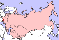 Moldavian SSR (in red) as part of the Soviet Union (pink)
