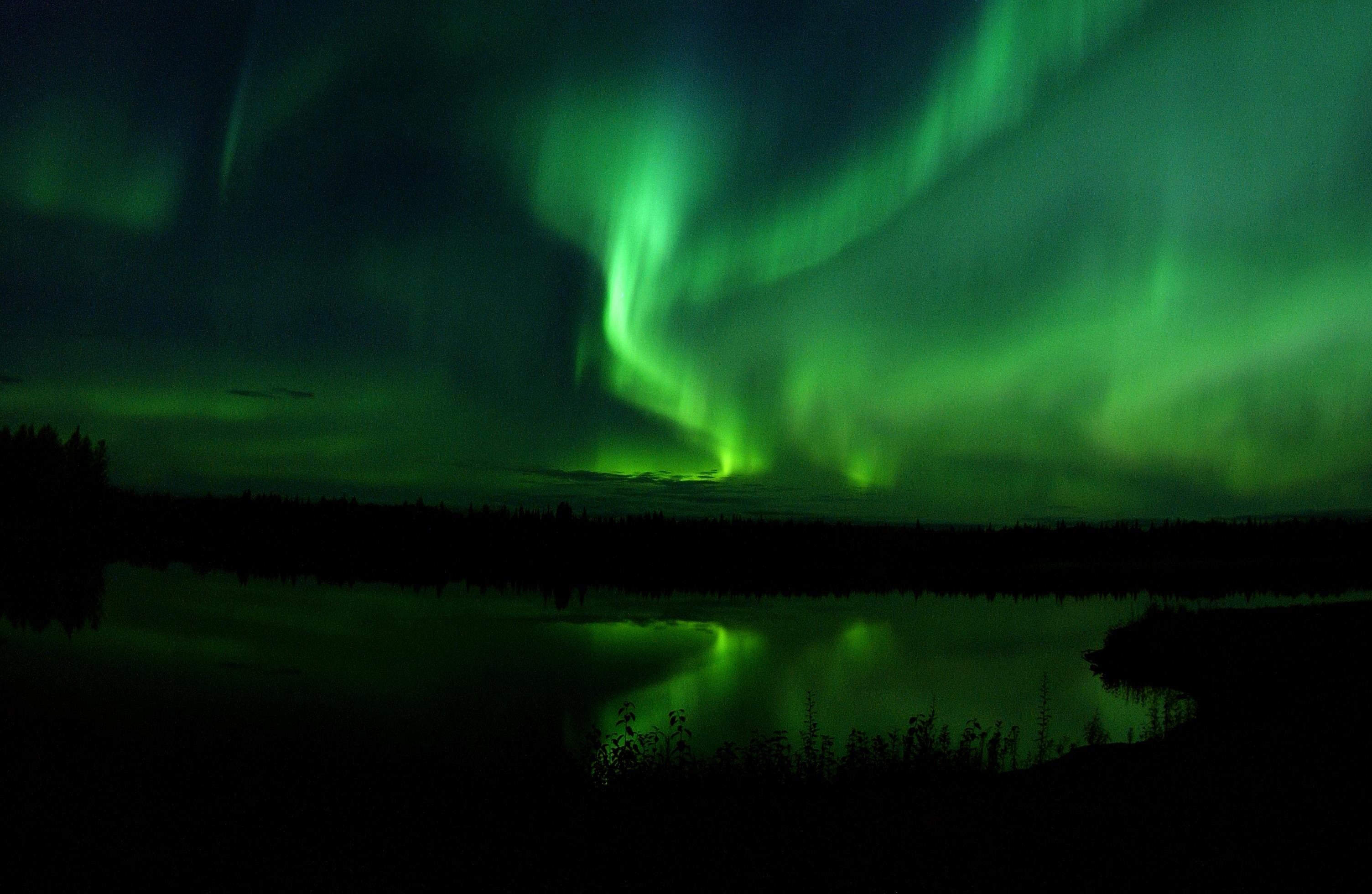 FileThe Aurora Borealis or Northern Lights shine above Bear Lake