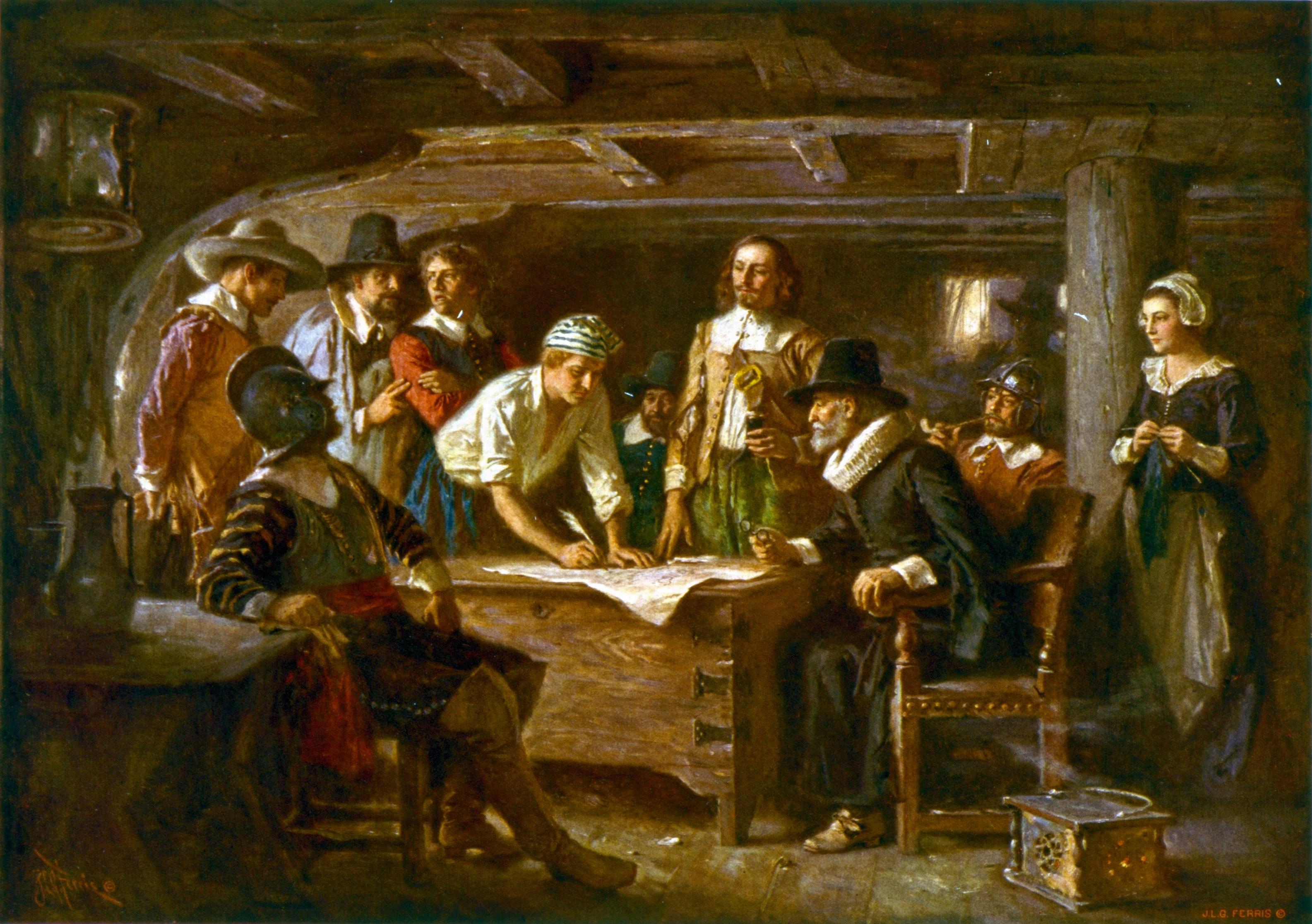 hesigningoftheayflowerompact,1620.