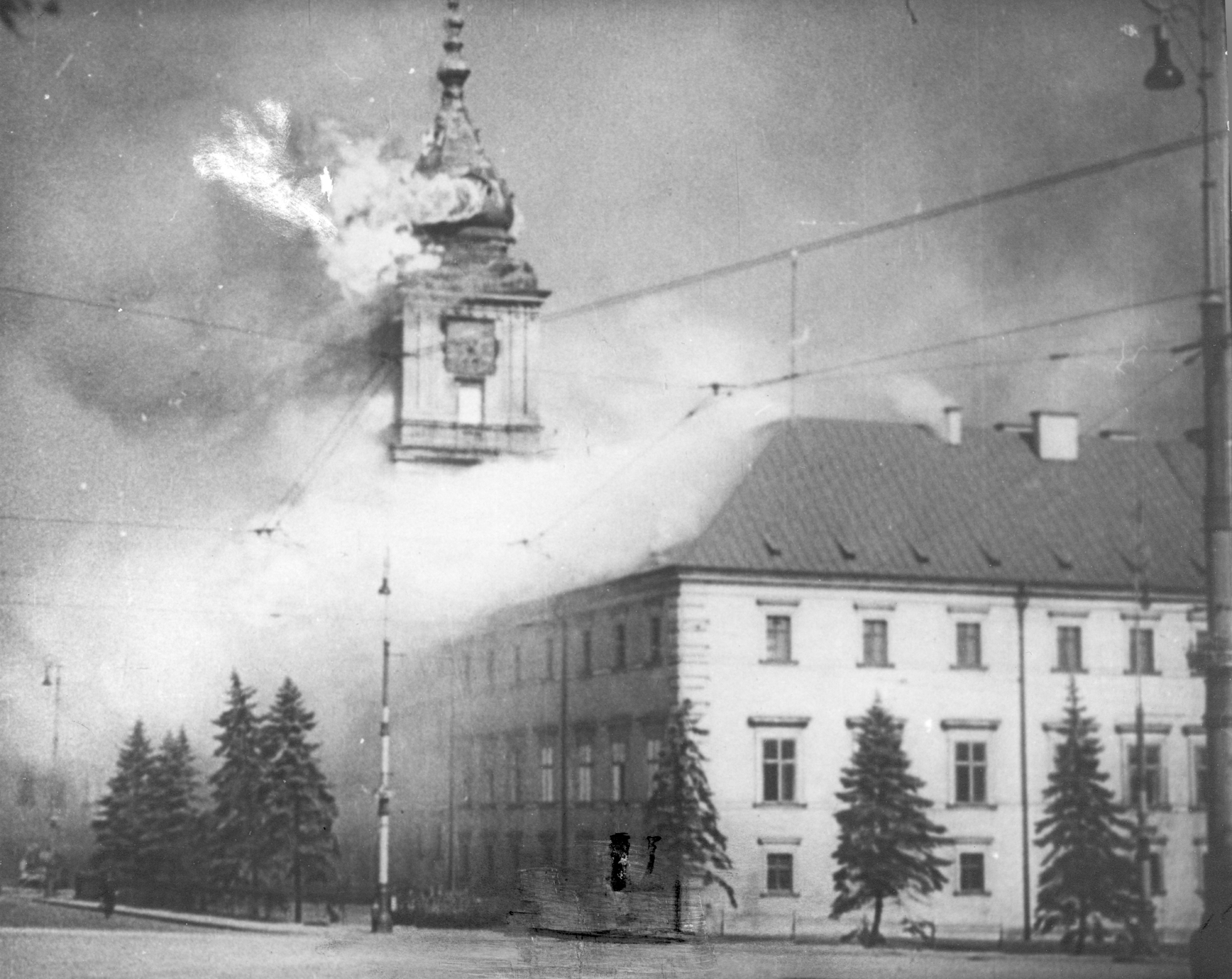 Photo of the Royal Castle in Warsaw on fire after being shelled by the Germans on 17 September.