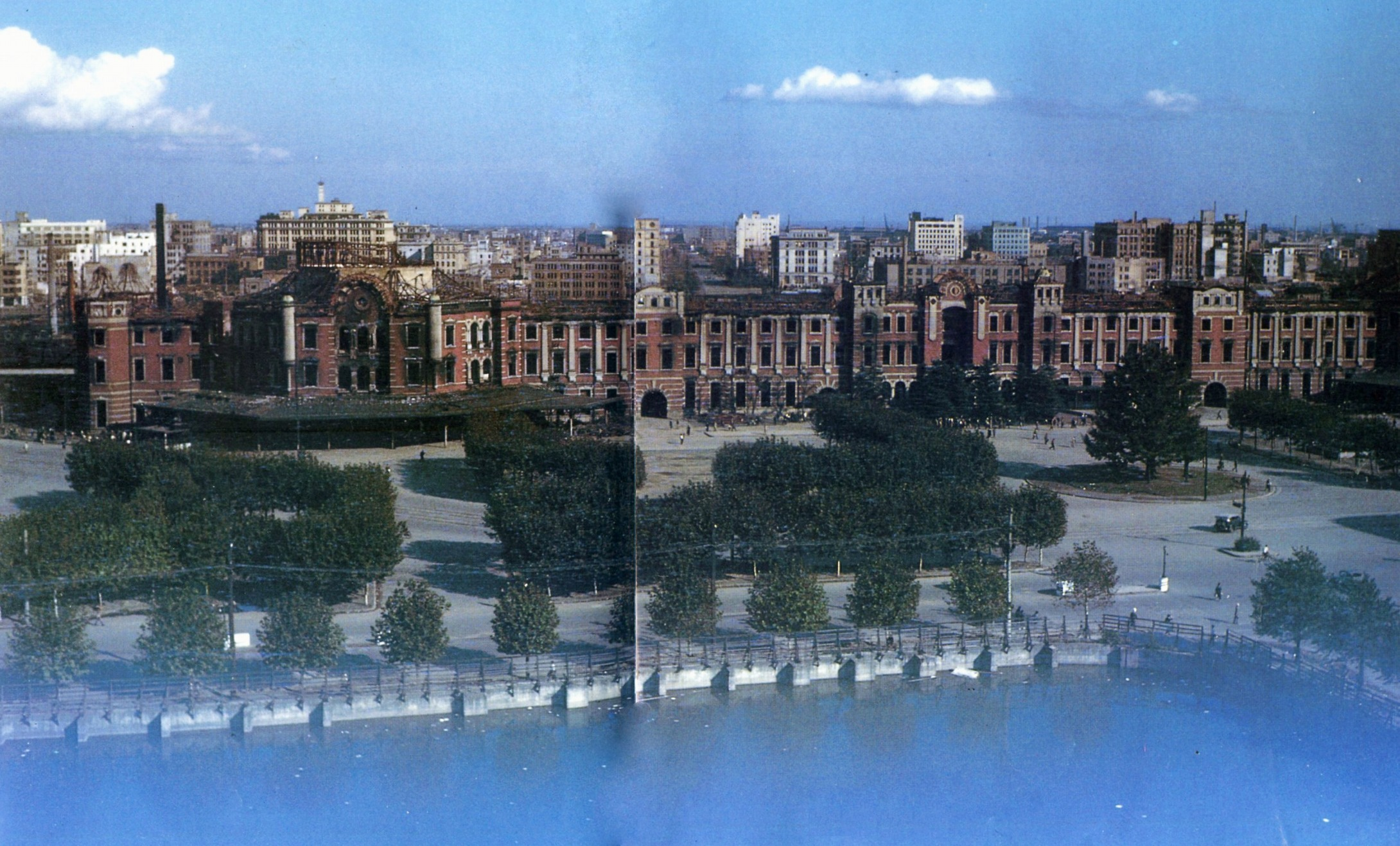 Tokyo station disastrous scene of after Great Tokyo Air Raid.jpg