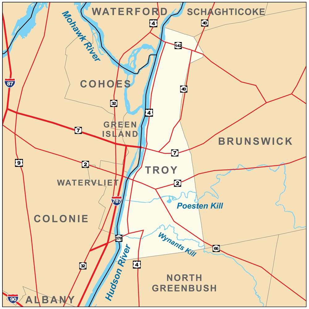 Description troy new york map