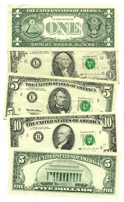 money, currency, U.S. currency, dollar denominations, public domain image