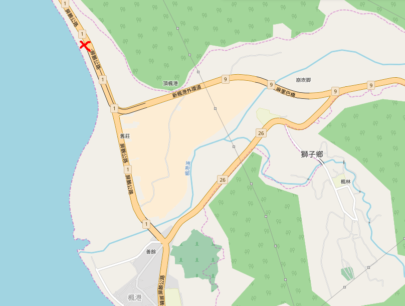 Where to stand, hitching from the west to the east of taiwan via Fenggang (楓港, Feng1gang3)