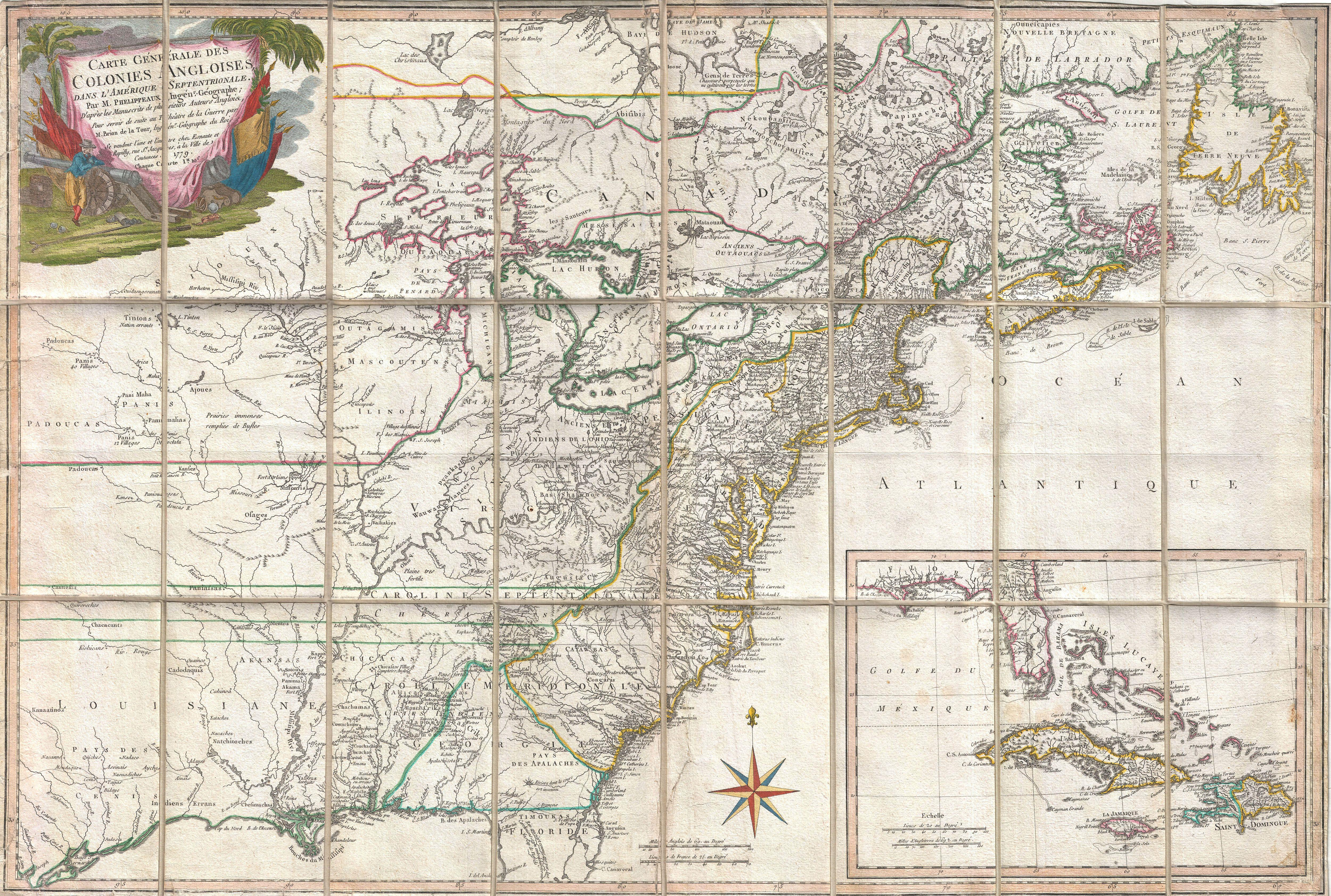 File 1779 Phelippeaux Case Map Of The United States During The Revolutionary War Geographicus