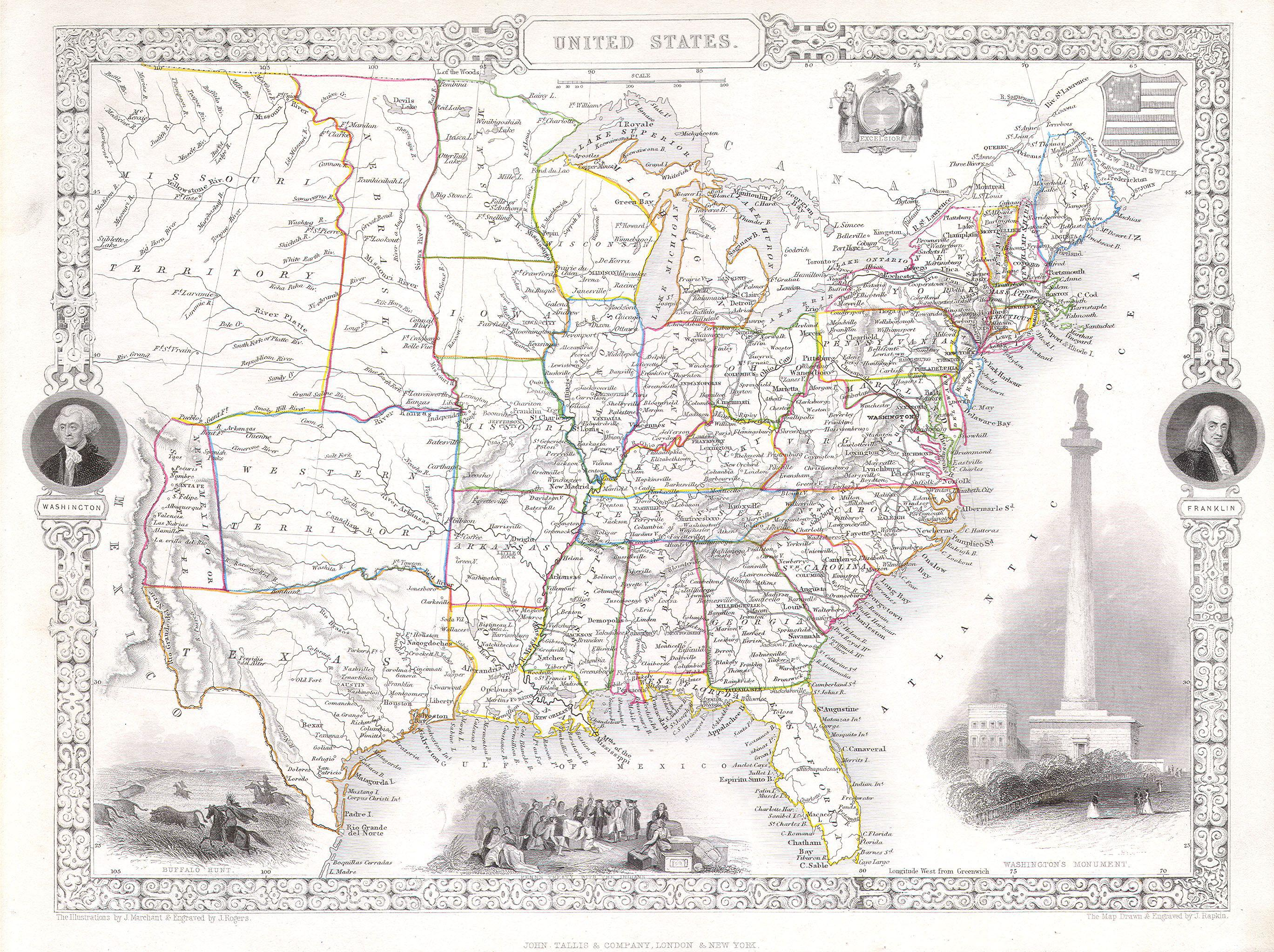 File Tallis Rapkin Map Of The United States Geographicus - 1850 map of us