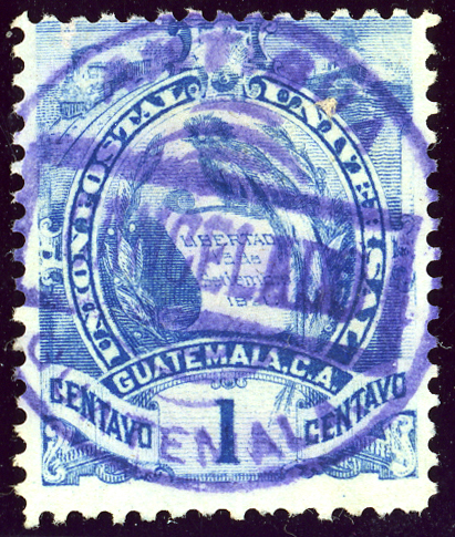 Postmark ANTIGUA CANCELADO in 1887, after Guatemala joined the UPU. Note the Quetzal. 1887 Guatemala 1C Yv44.jpg