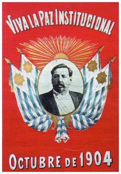 Cartel que alude al final de la revolución de 1904, ensalzando la figura de Batlle y Ordóñez.