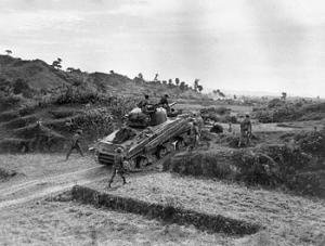 19th Lancers Sherman 22 January 1945 getting into position to fire at Japanese positions in the Arakan hills.jpg