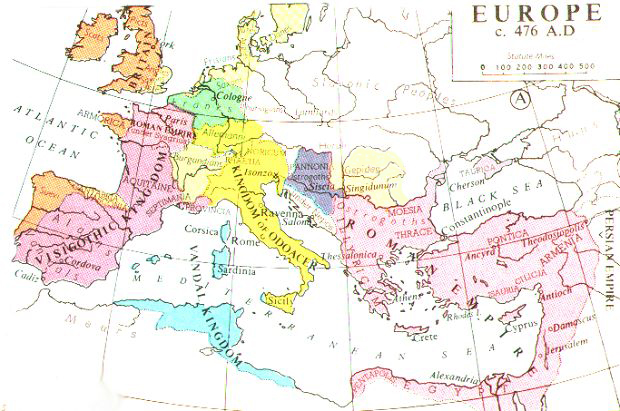 Europe in 476, from Muir's Historical Atlas (1911).