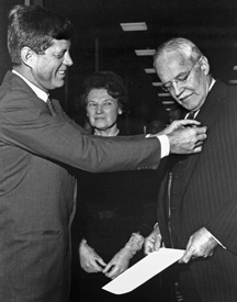 President Kennedy presents the National Security Medal to Allen Dulles, November 28, 1961 Allen Dulles appointed DCI, 26 February 1953.jpg