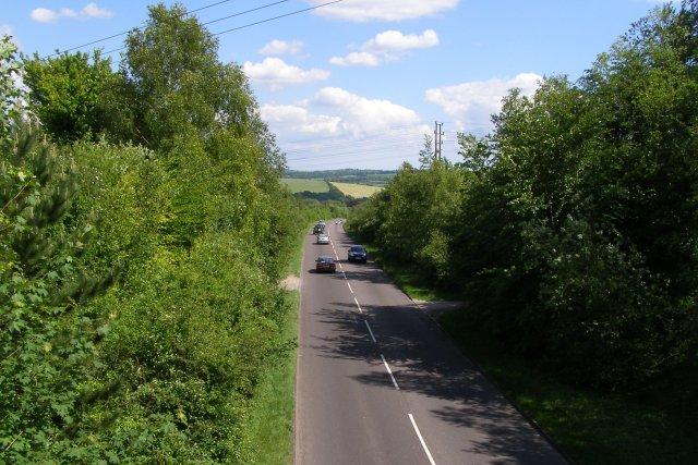 Badger Farm Road from Whiteshute Bridge - geograph.org.uk - 451994
