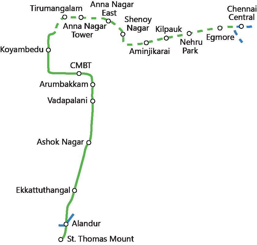 File Chennai Metro Map Green Line Png Wikipedia