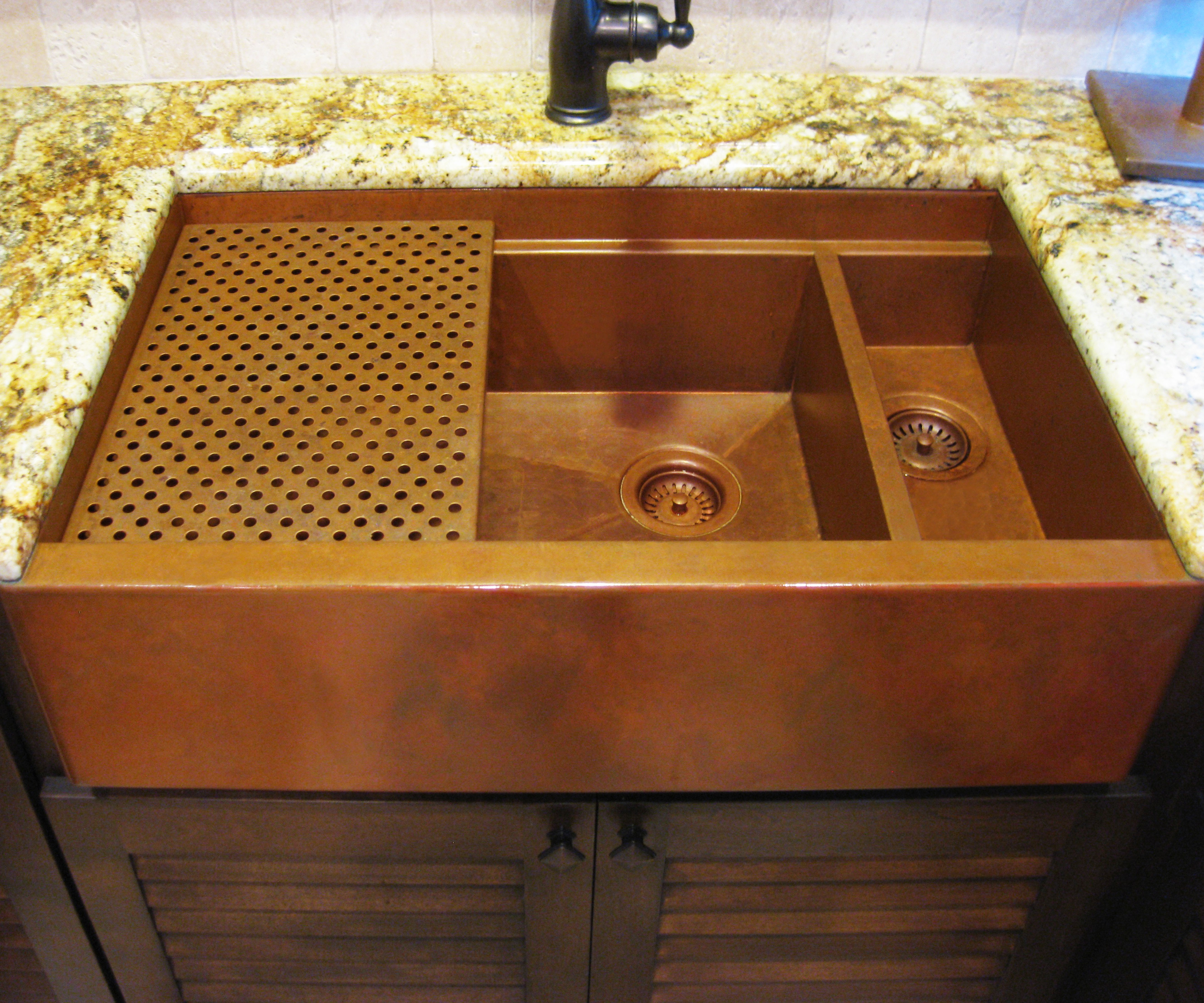 trimmed with hammered countertop copper scalloped hand and pin