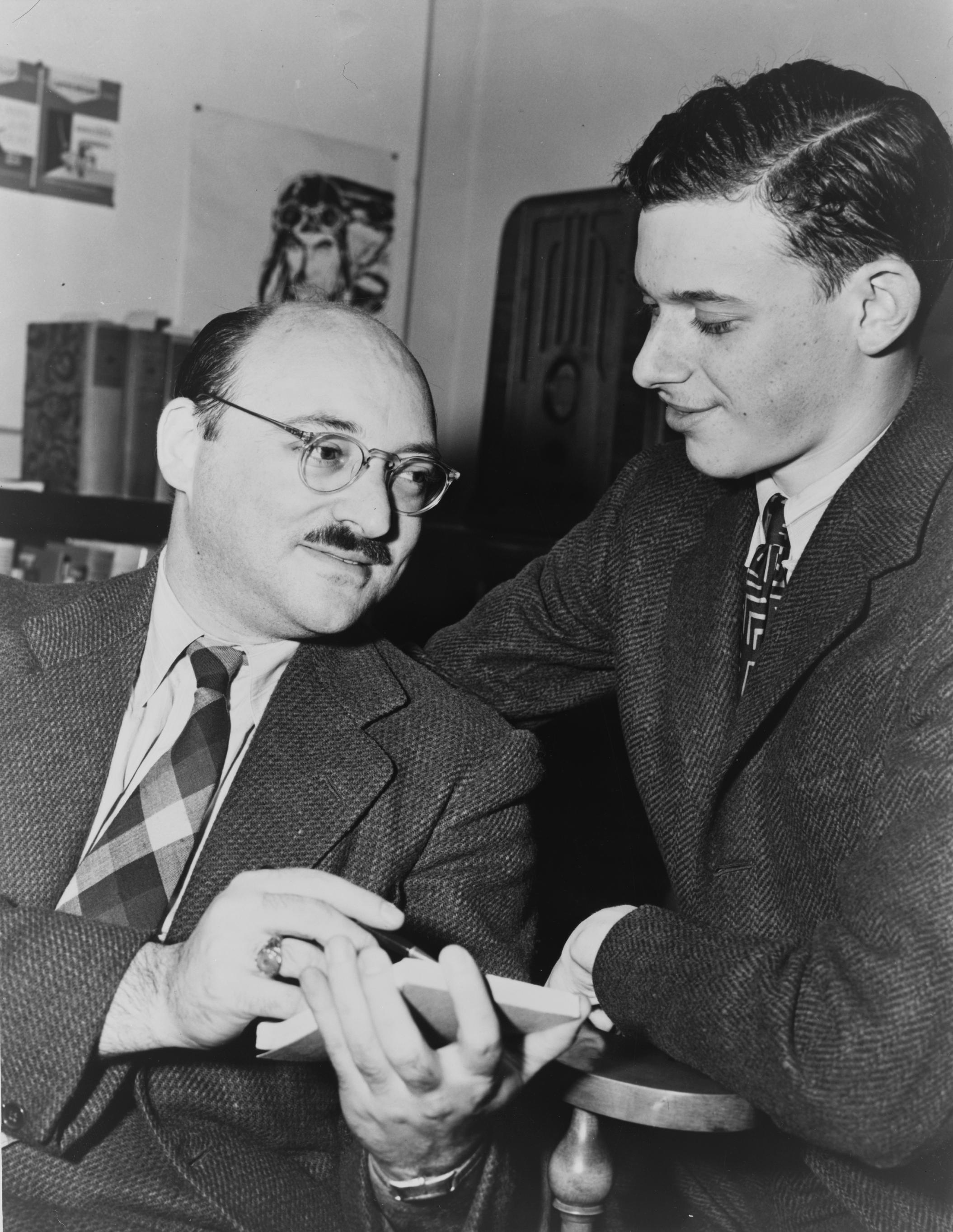 Frederic Dannay (left), with EQMM contributor James Yaffe in 1943.