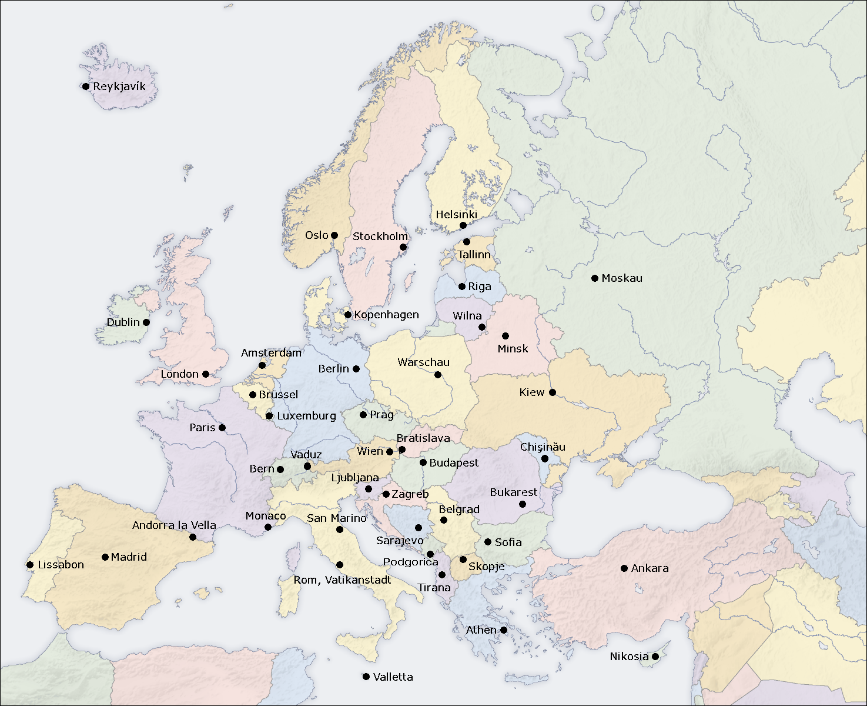 hauptst228dte europa l228nder liste karte europakarte