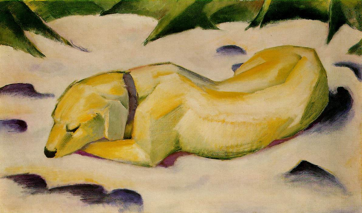 datei franz marc dog lying in the snow 1910 wikipedia. Black Bedroom Furniture Sets. Home Design Ideas
