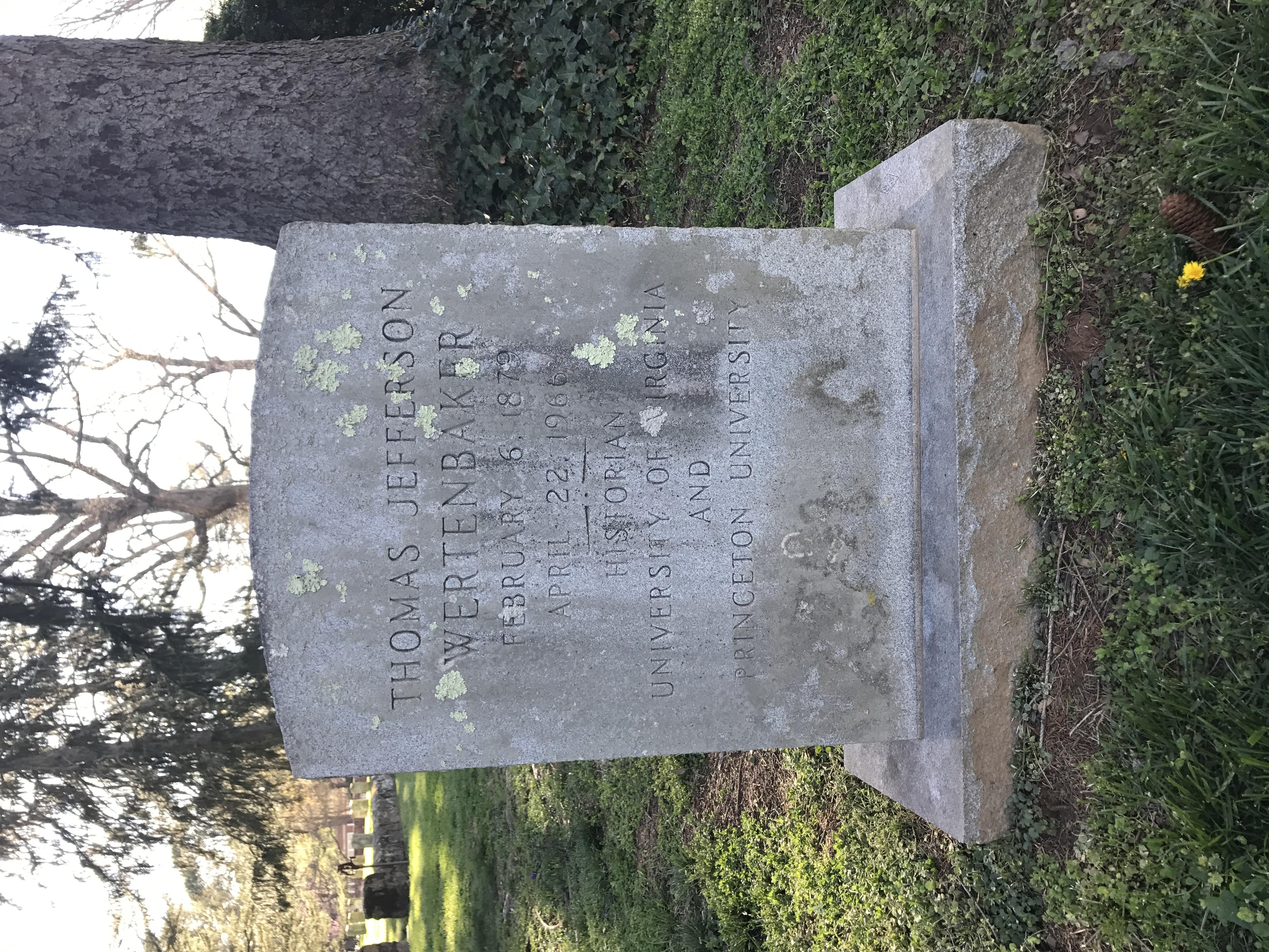 Wertenbaker's gravestone at the [[University of Virginia Cemetery