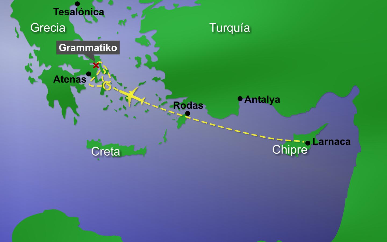 Ruta del vuelo del Helios 522.