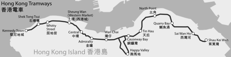 HK Tramways map