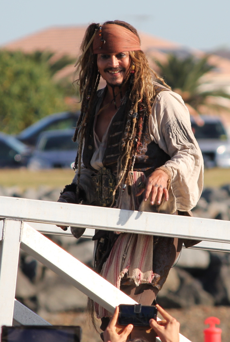 Depp in costume as Captain Jack Sparrow