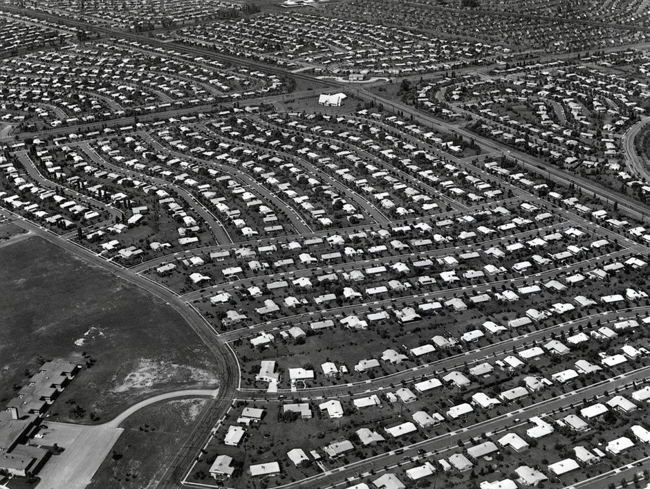 Aerial view of Levittown.  1959,