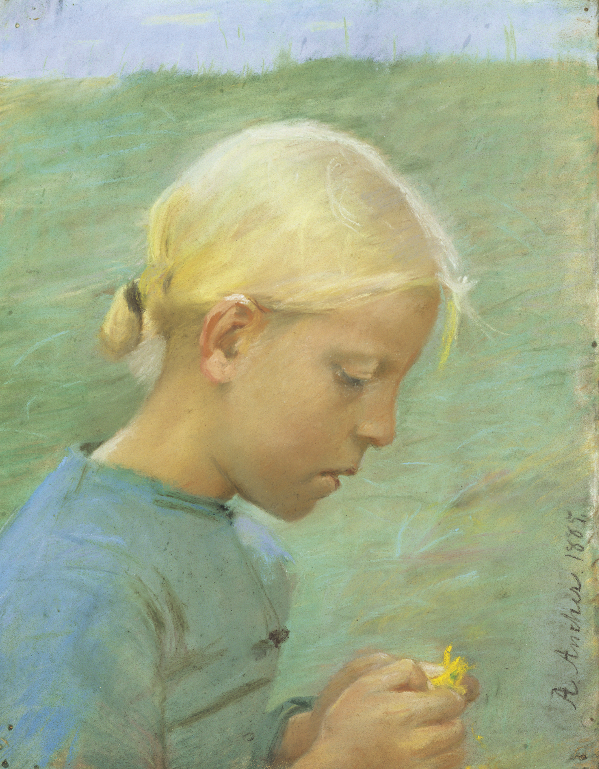 Little Girl with Flower by Anna Ancher, pastel