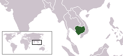 Location of Cambodia in Southeast Asia.
