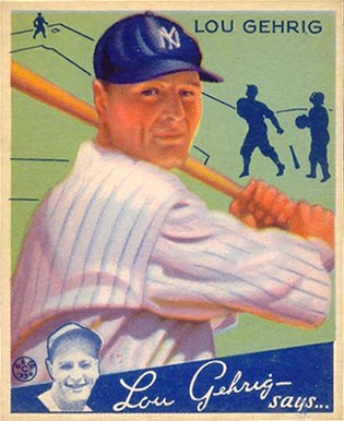 English: 1934 Goudey baseball card of Lou Gehr...