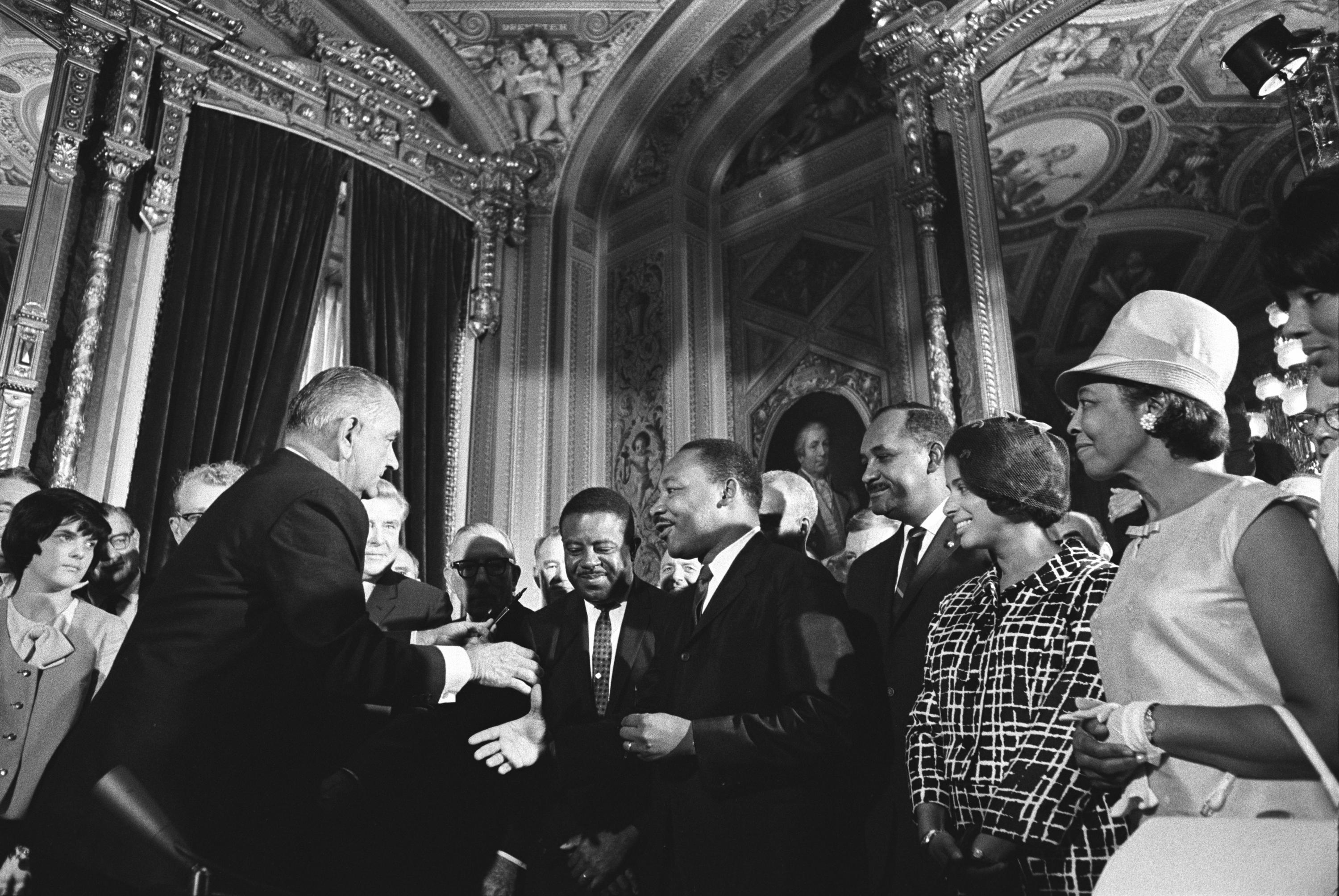 File:Lyndon Johnson and Martin Luther King, Jr. - Voting Rights ...