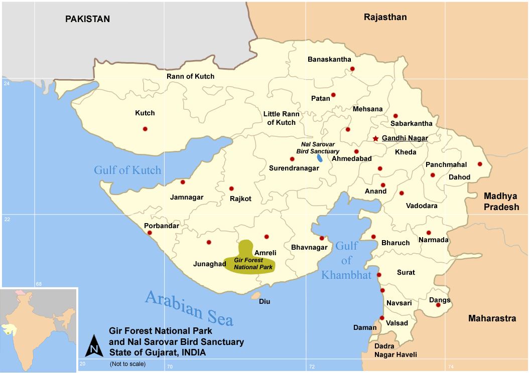 Description map guj nat parks sanctuary