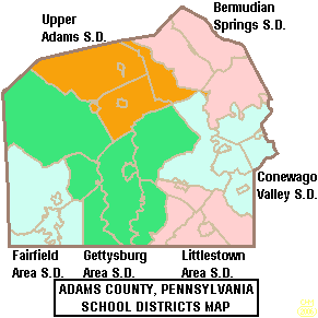 Map of Adams County Pennsylvania School Districts.png