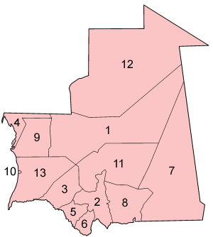 A clickable map of Mauritania exhibiting its twelve regions and one capital district.