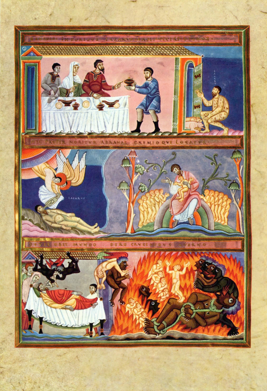 Codex Aureus Epternacensis, manoscritto miniato; Parabola dell'uomo ricco e del mendicante Lazzaro