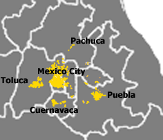Spread of Greater Mexico City into Mexico and other states Mexico Megalopolis.png