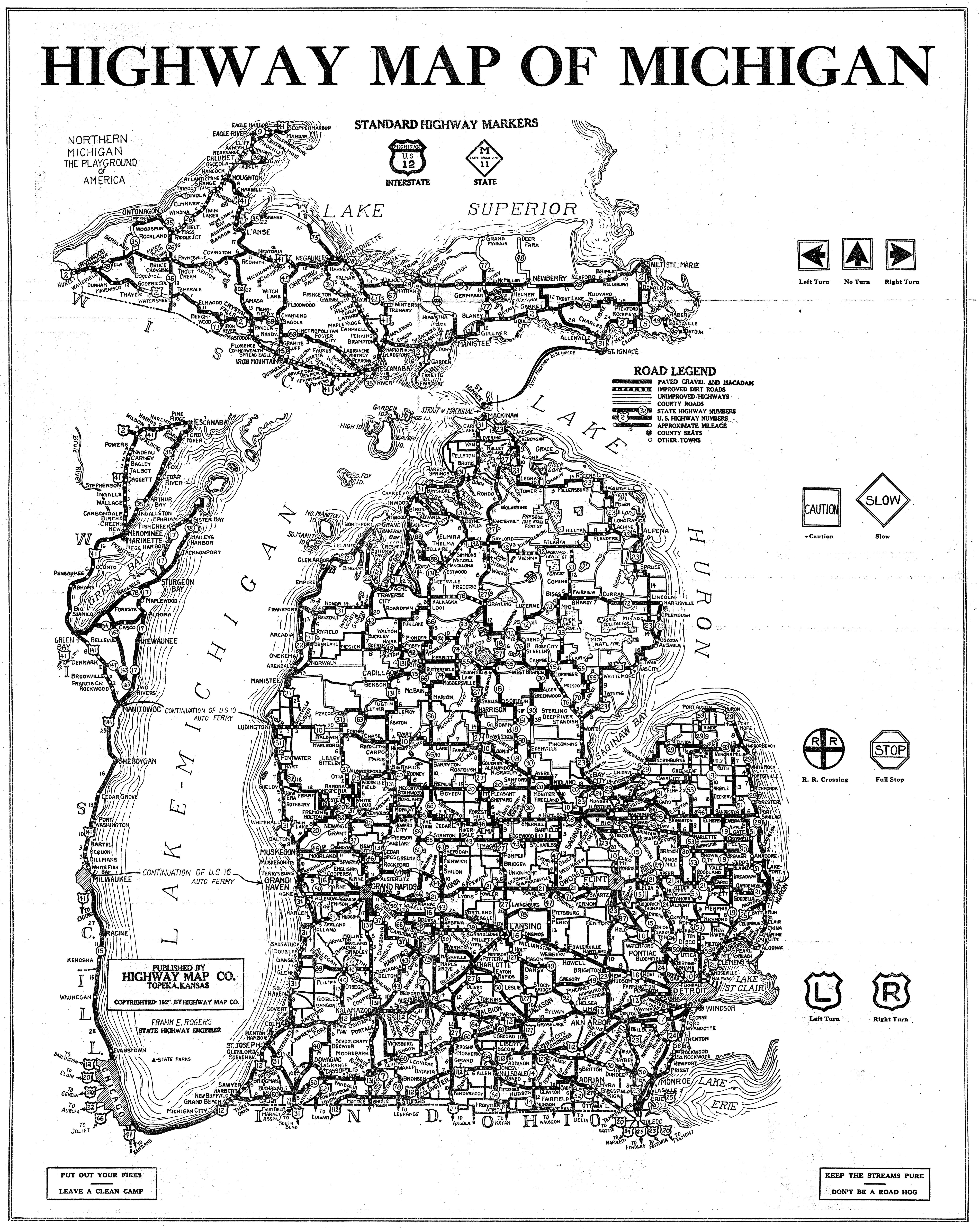 FileMichigan HiWay Mapjpg Wikimedia Commons - Map of us 1920