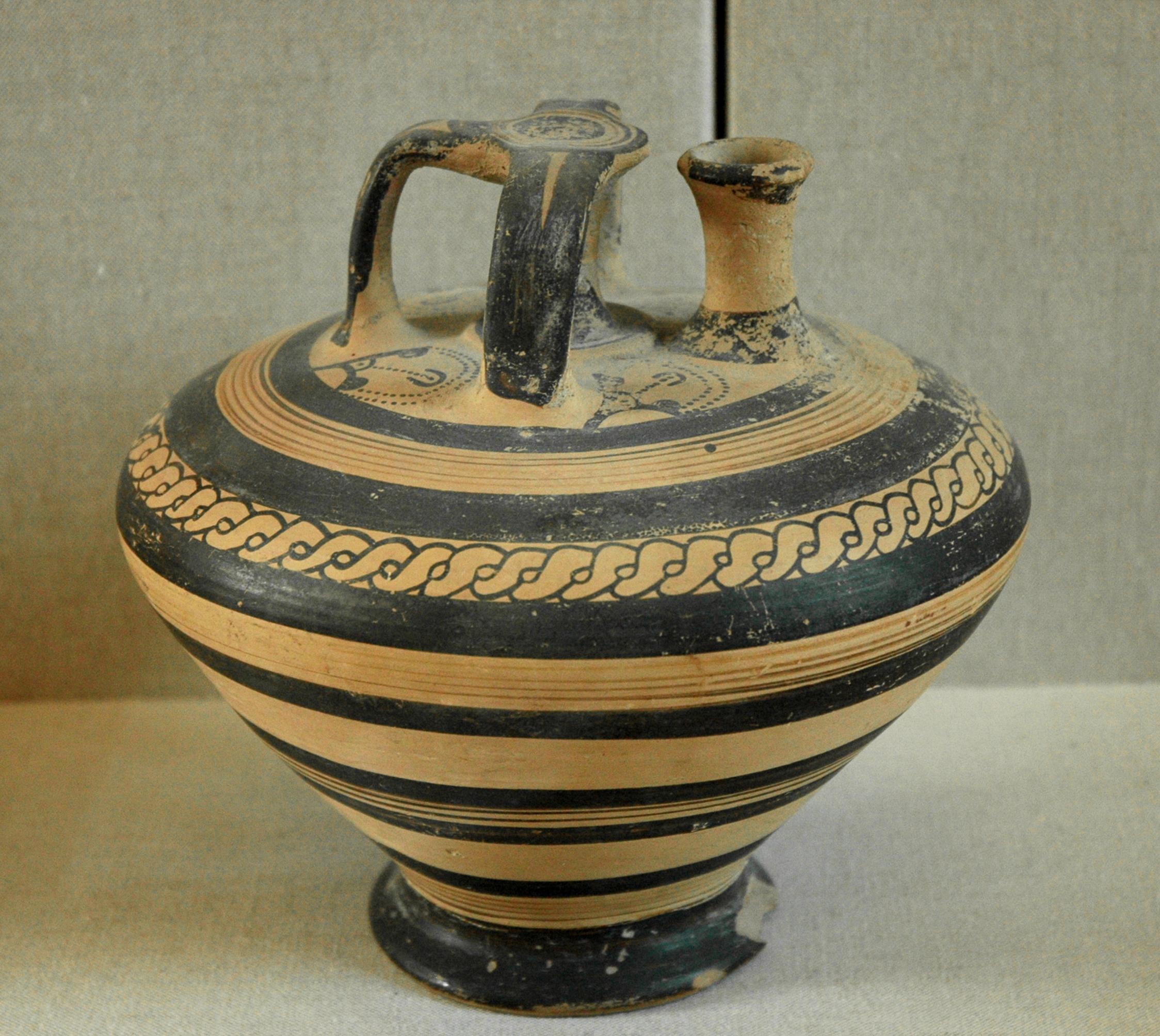 Mycenaean stirrup vase, 14th-13th centuries BC, imported to Ugarit. Found in the acropolis of Ras Shamra (ancient Ugarit), tomb 37.