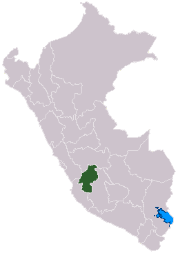 Location of the Huancavelica region in Peru