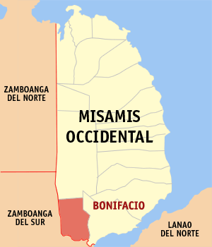 Map of Misamis Occidental showing the location of Bonifacio