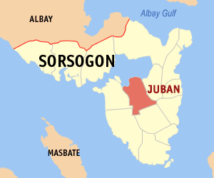 Map of Sorsogon showing the location of Juban