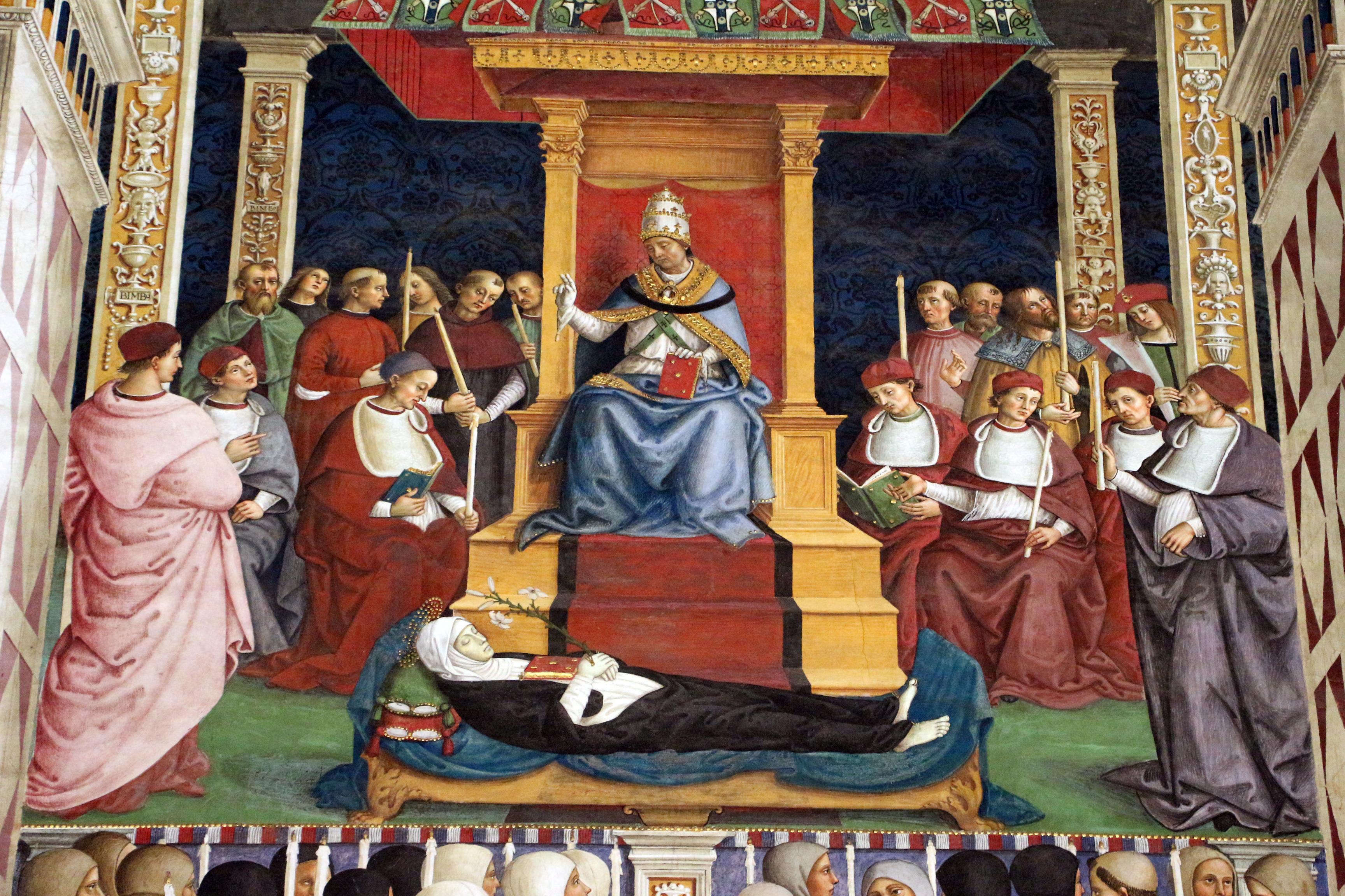 https://upload.wikimedia.org/wikipedia/commons/6/64/Pinturicchio%2C_liberia_piccolomini%2C_1502-07_circa%2C_Pio_II_canonizza_santa_Caterina_da_Siena_02.JPG