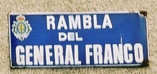 Sign in Santa Cruz de Tenerife for a street bearing Franco's name Plaque franco.jpg