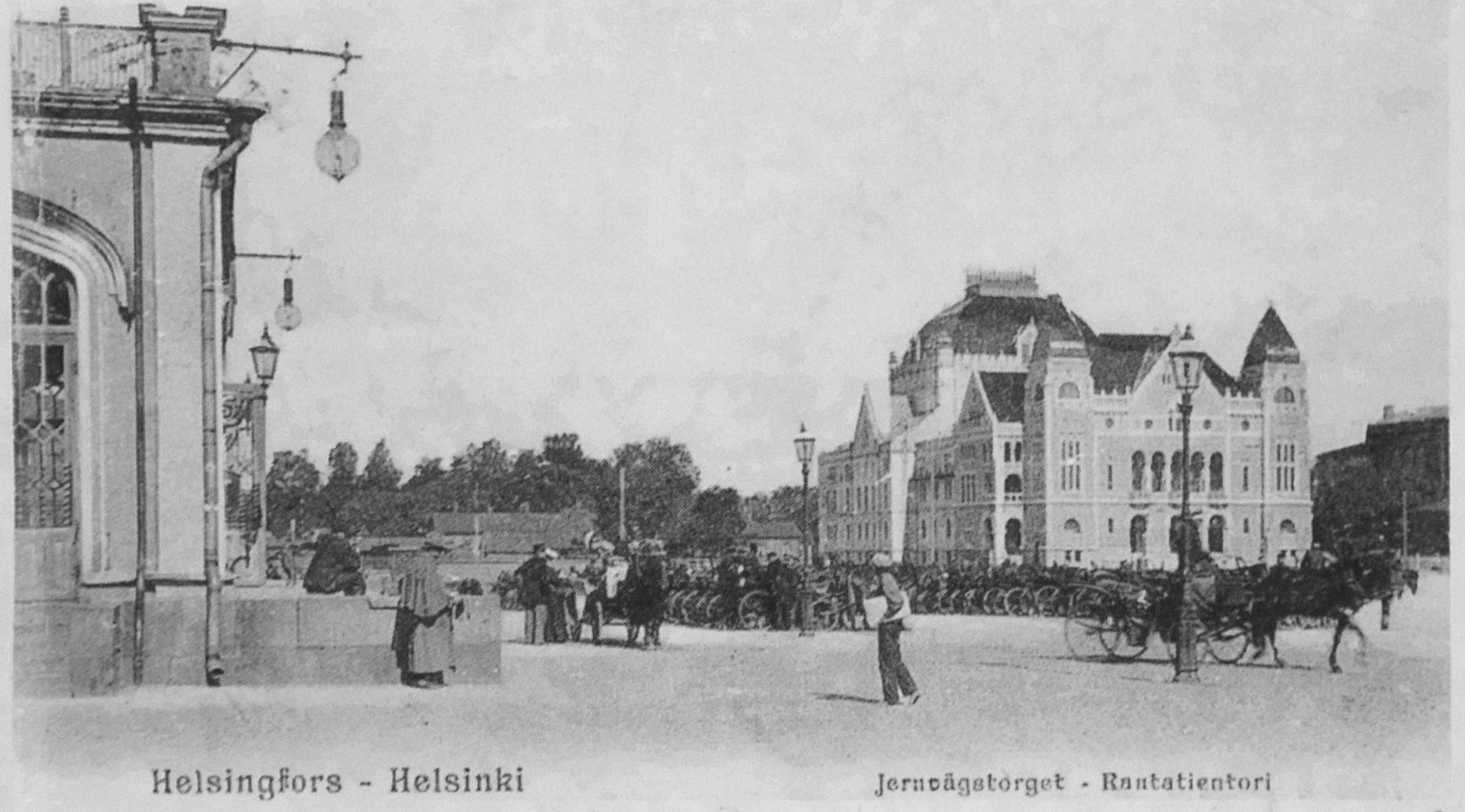 File Rautatientori Postikortissa 1906 Helsinki Jpg Wikimedia