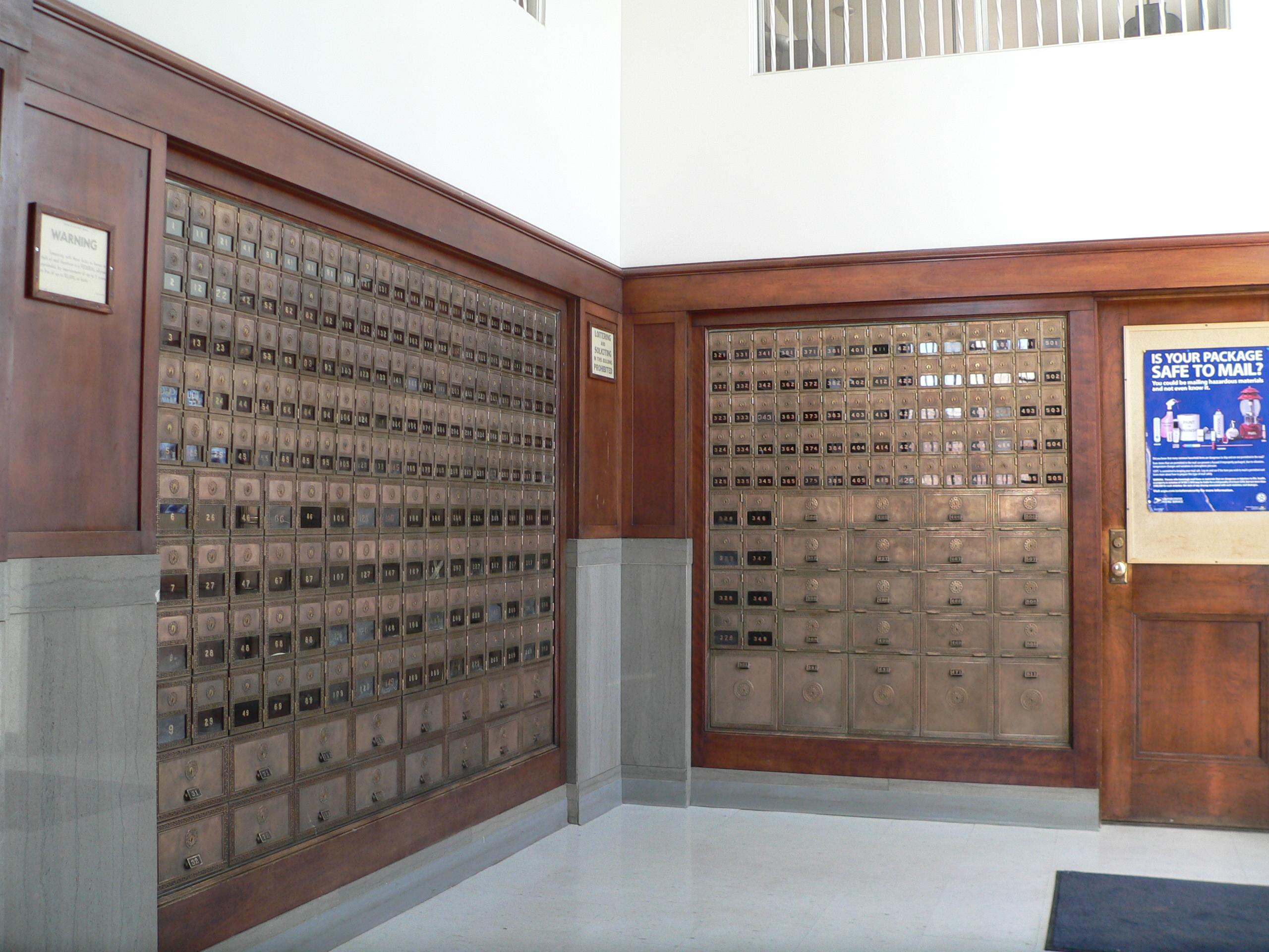 File Schuyler Nebraska Post Office Interior Boxes Jpg Wikimedia Commons