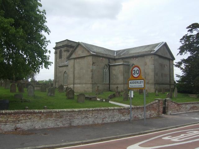 St Peter's parish church, Adderley, Shropshire, seen from the southeast