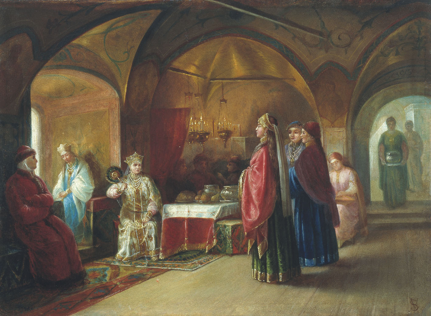 erem of the Tsarevnas, by M.P. Klodt, 1878. Painting depicting the terem in a medieval royal household. Photo in public domain.