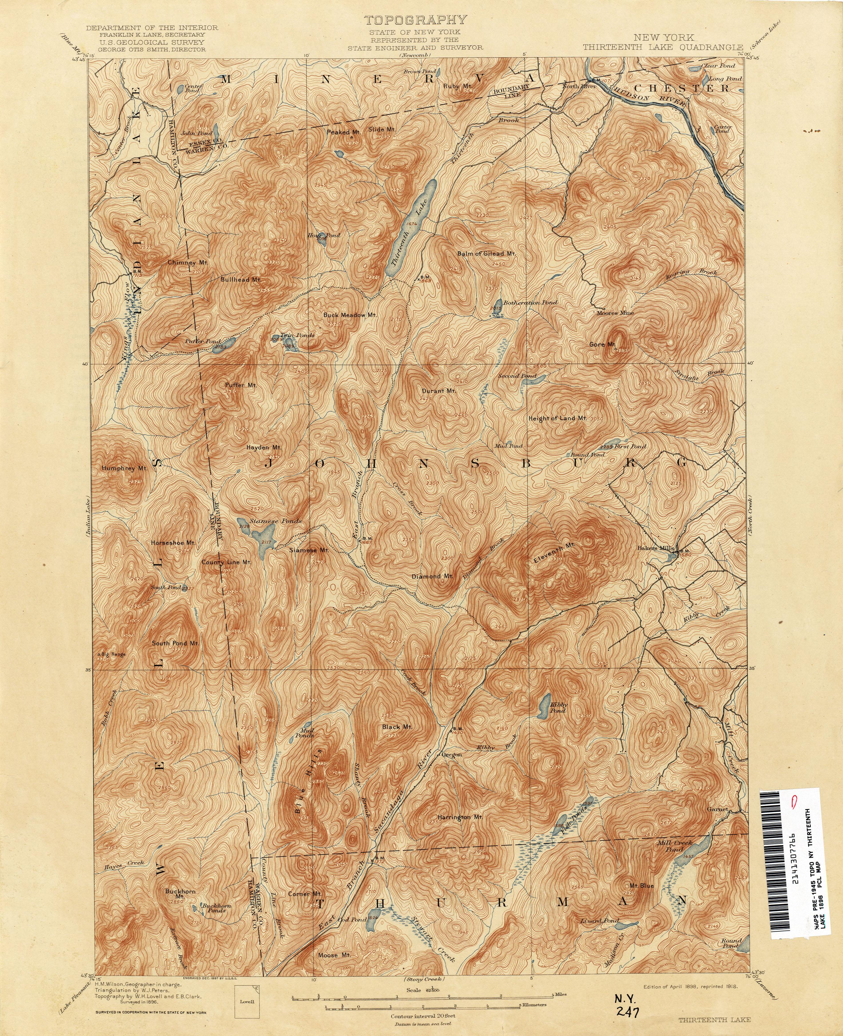 File Thirteenth Lake New York Usgs Topo Map 1896 Jpg Wikimedia Commons