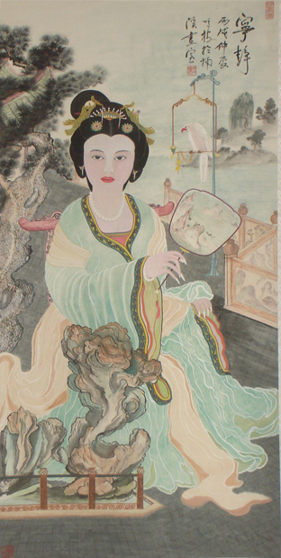 Traditional Chinese painting of a woman holding a fan.jpg