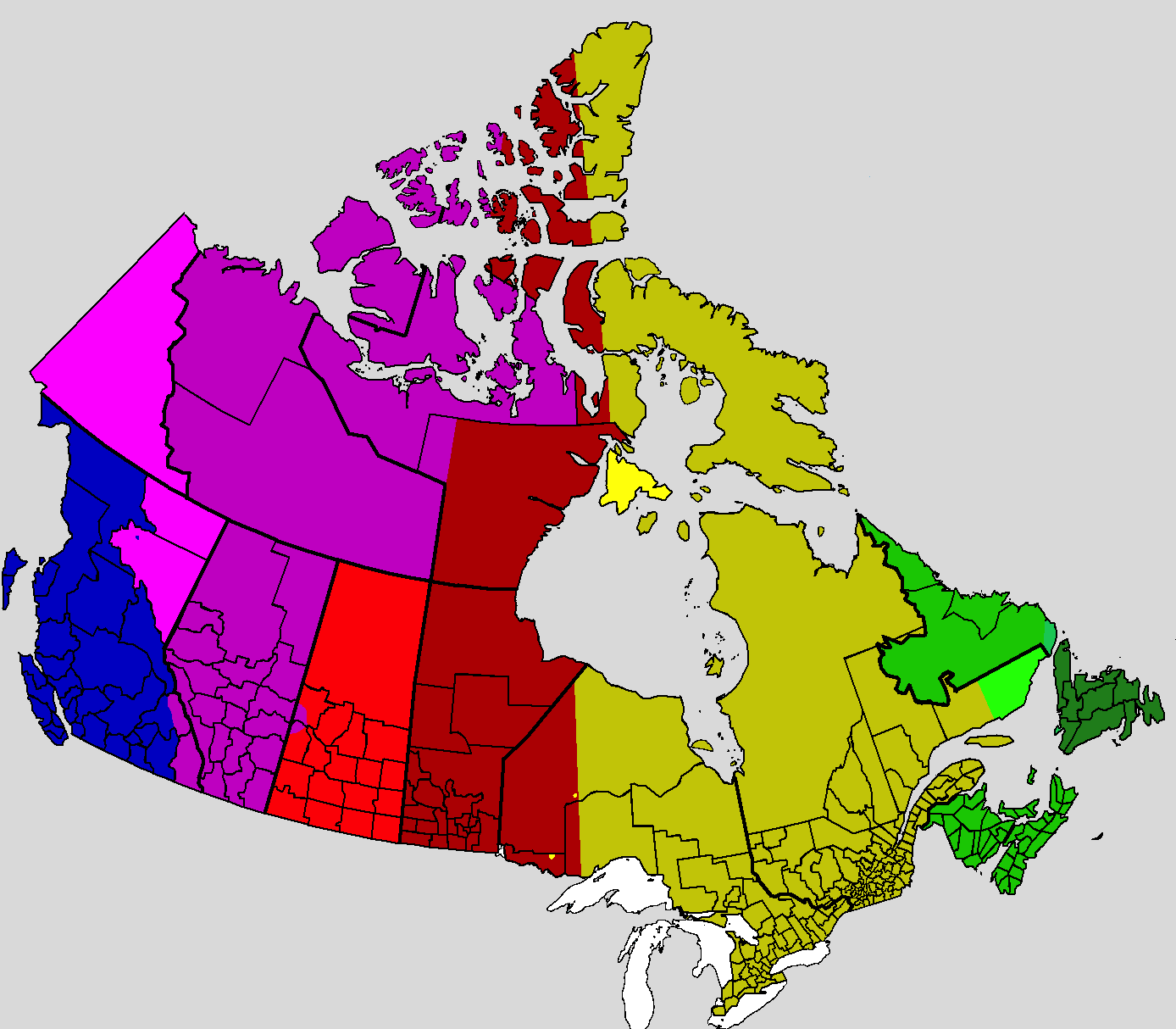 Map Of Canada With Time Zones.Time In Canada Wikipedia
