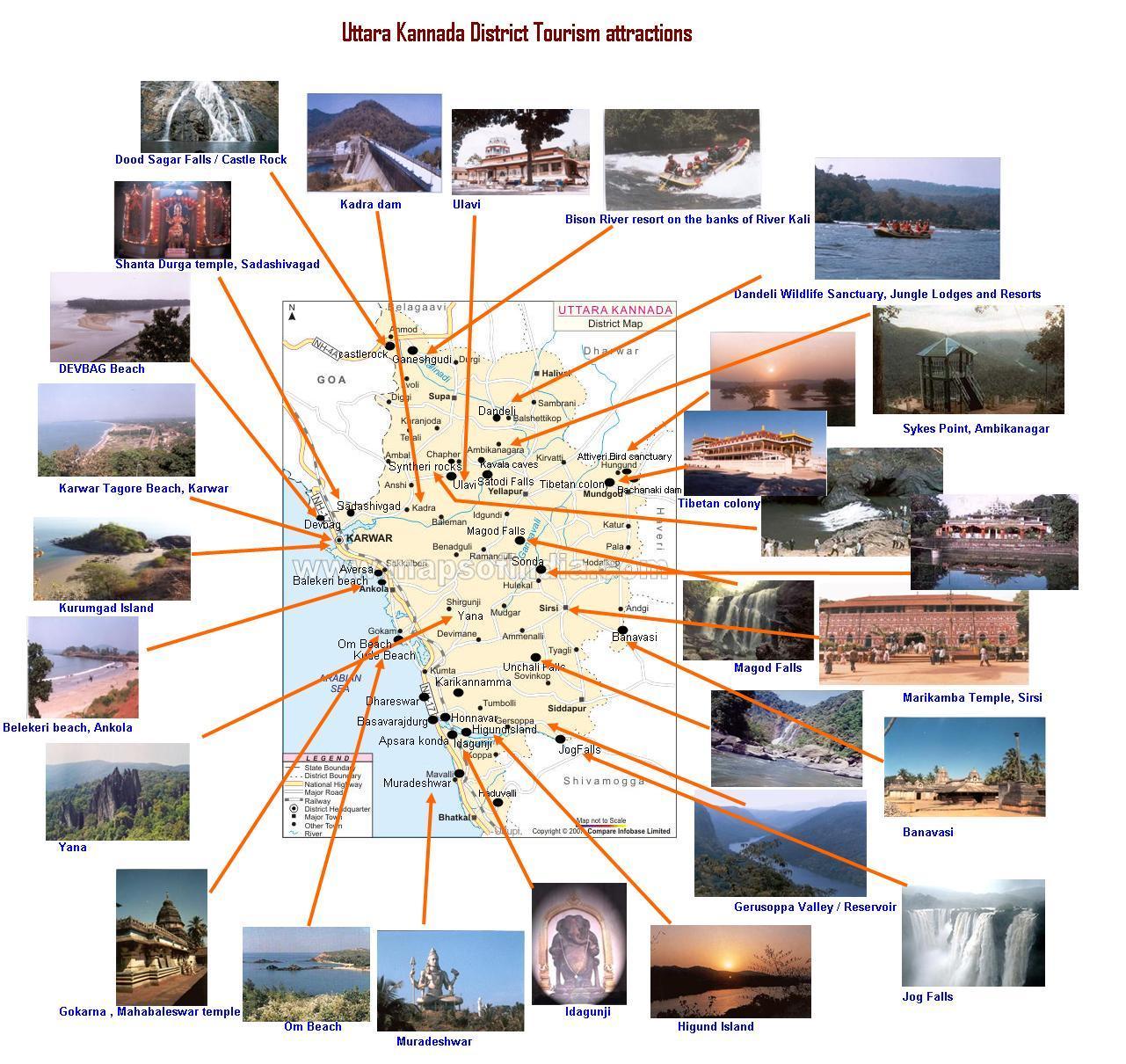 Tourist Map Uttar Kannada